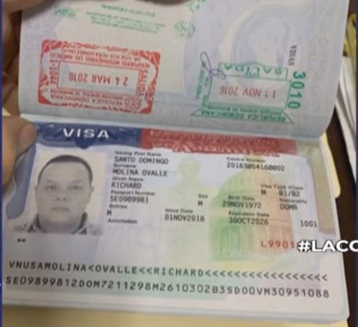 pasaporte de Richard Miguel Gloss o Richard Molina Ovalles